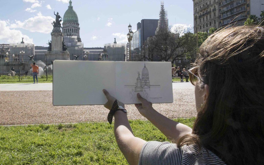 Me invitaron a dibujar al Congreso de la Nación